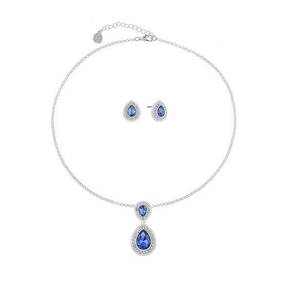 Monet Jewelry Blue Silver Tone 2 Pc Jewelry Set
