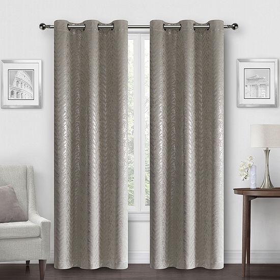 Regal Home Chevron Metallic Energy Saving Blackout Grommet-Top Set of 2 Curtain Panel