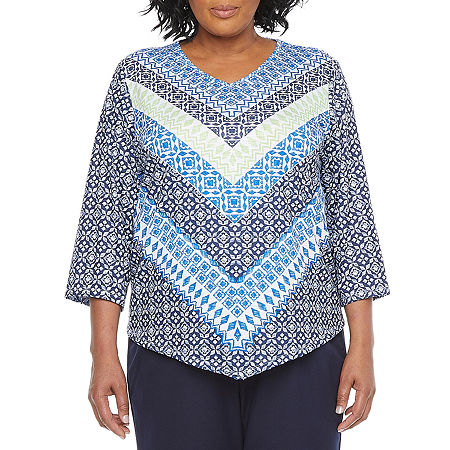 Alfred Dunner Plus Vacation Mode Womens V Neck 3/4 Sleeve T-Shirt, 1x , Blue