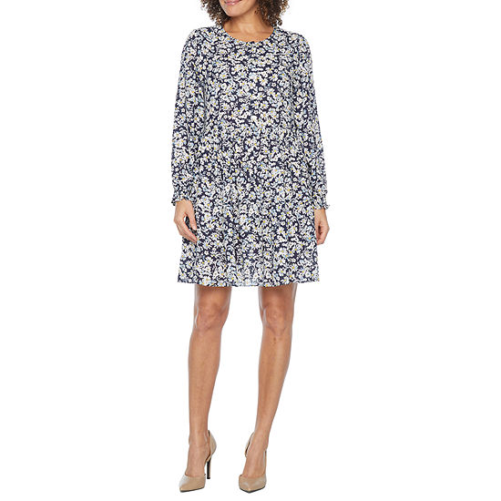 Emma And Michele Long Sleeve Floral Shift Dress