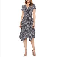 Perceptions Short Sleeve Dots High-Low Fit & Flare Dress Deals