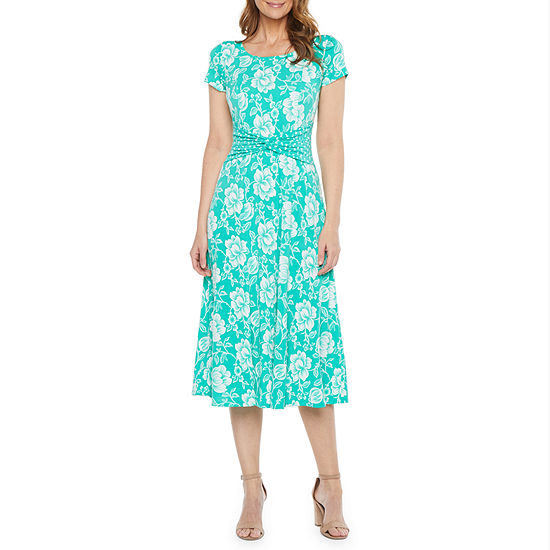 Perceptions Short Sleeve Floral Puff Print Midi Fit & Flare Dress