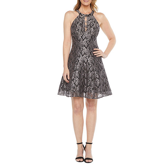 R & M Richards Sleeveless Glitter Lace Fit & Flare Dress