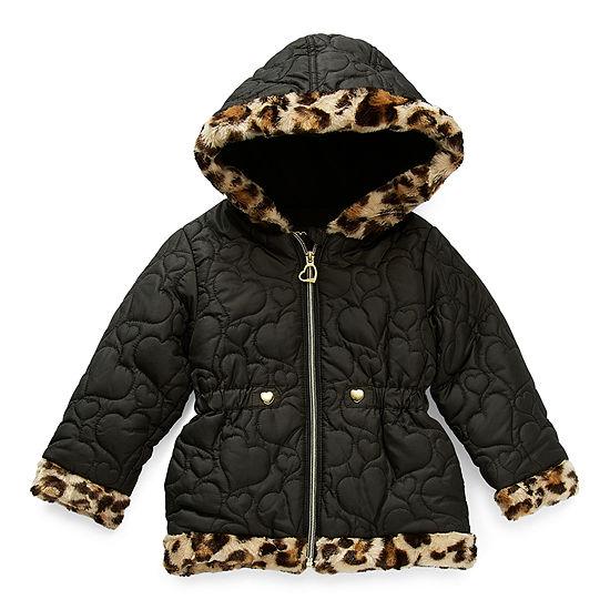 Pistachio Toddler Girls Hooded Faux Fur Trim Heavyweight Puffer Jacket