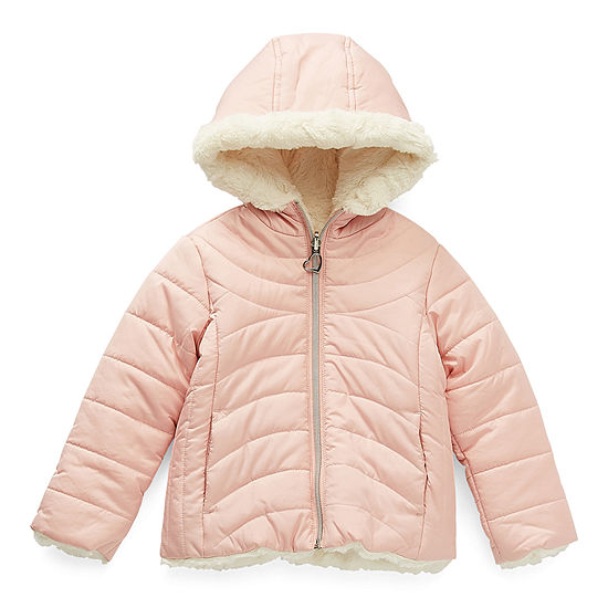 Pistachio Toddler Girls Hooded Reversible Heavyweight Quilted Jacket