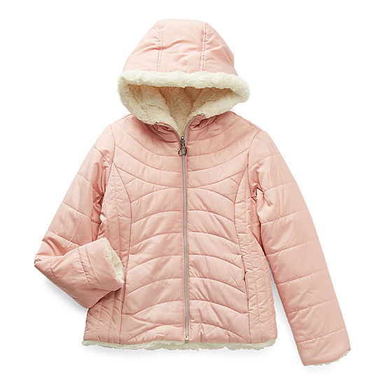 Pistachio Girls Hooded Reversible Heavyweight Quilted Jacket