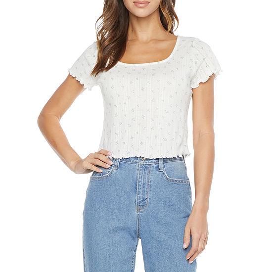 Arizona Womens Juniors Square Neck Short Sleeve T-Shirt