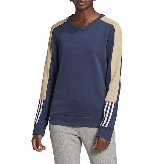 Adidas Essentials Logo Colorblock Womens Round Neck Long Sleeve Sweatshirt