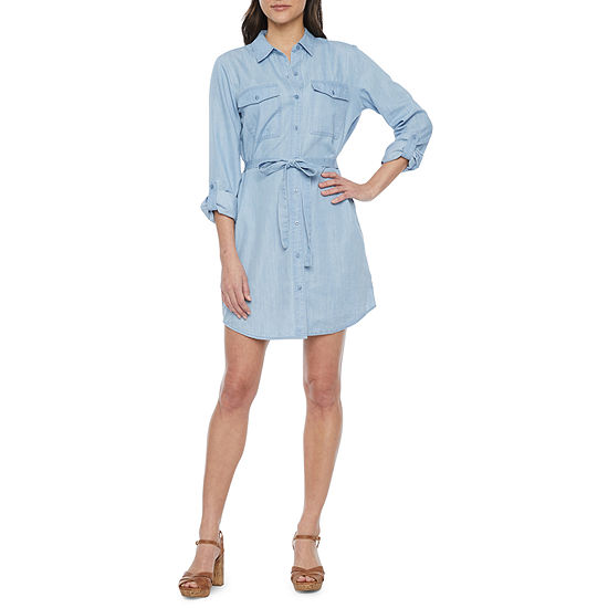 a.n.a. Womens 3/4 Sleeve Shirt Dress