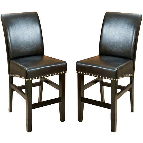 Fallon Set of 2 Bonded Leather Barstools with Nailhead Trim