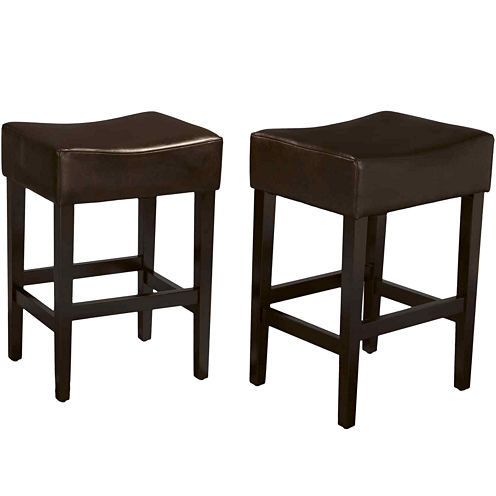 Kirby Set of 2 Backless Bonded Leather Barstools