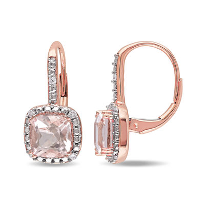 Cushion-Cut Genuine Morganite and 1/10 CT. T.W. Diamond 10K Rose Gold Earrings