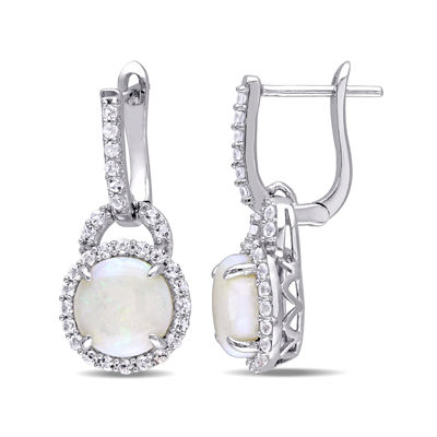 Genuine Opal and White Topaz Sterling Silver Earrings