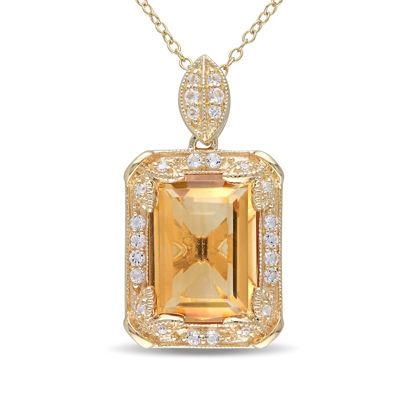 Genuine Citrine, White Topaz and Diamond-Accent Pendant Necklace