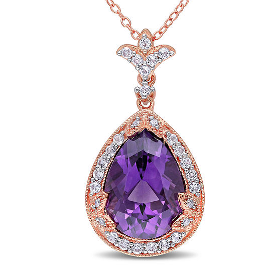 Genuine Amethyst, White Topaz and Diamond-Accent Pendant Necklace