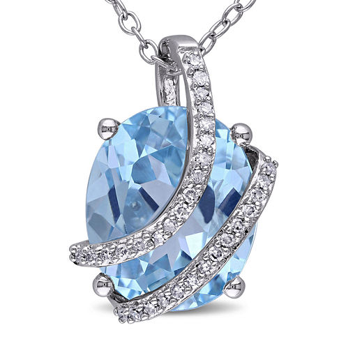 Genuine Sky Blue Topaz and 1/10 CT. T.W. Diamond Pendant Necklace