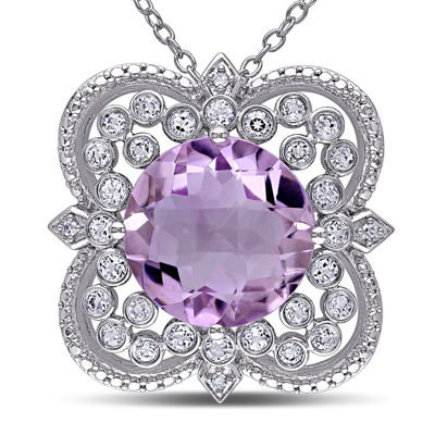 Round Genuine Rose de France Amethyst, White Topaz and Diamond-Accent Necklace