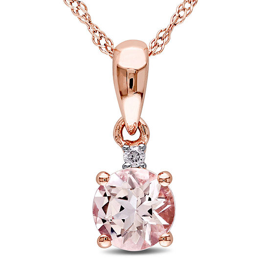 Round Genuine Morganite and Diamond-Accent 10K Rose Gold Pendant Necklace