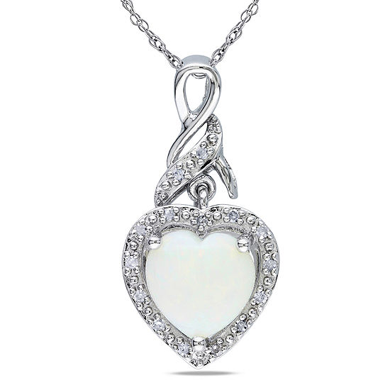 Heart Shaped Genuine Opal And Diamond Accent Sterling Silver Pendant Necklace