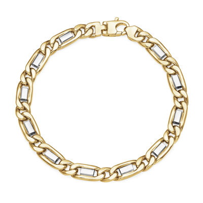 Made in Italy 10K Two-Tone Gold Figaro Mens Bracelet