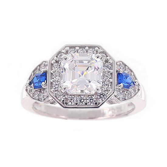 Diamonart Cubic Zirconia Simulate Blue Sapphire Sterling Silver 3 Stone Ring