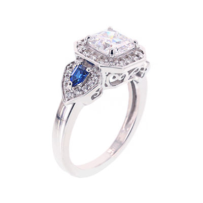 DiamonArt® Cubic Zirconia & Simulate Blue Sapphire Sterling Silver 3-Stone Ring