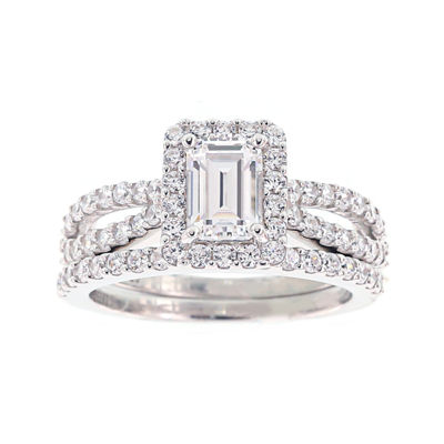 DiamonArt® Cubic Zirconia Sterling Silver Emerald-Cut Bridal Ring Set