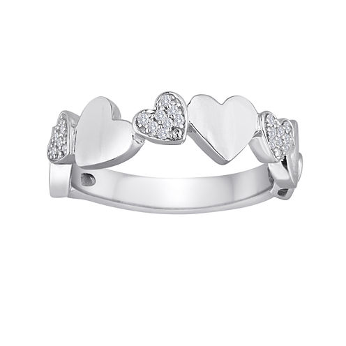 1/10 CT. T.W. Diamond Sterling Silver Puff Heart Ring