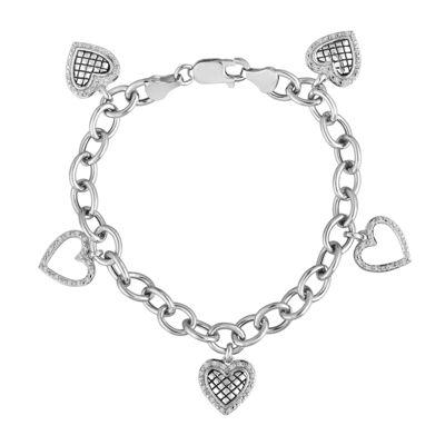 1/5 CT. T.W. Diamond Sterling Silver 5-Charm Heart Bracelet