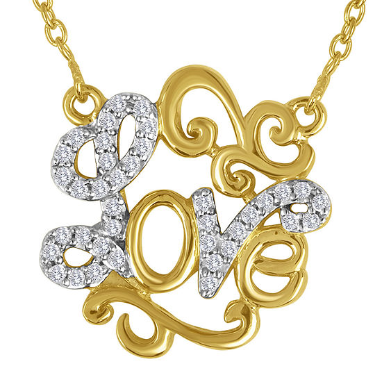 1/10 CT. T.W. Diamond 14K Yellow Gold Over Sterling Silver Love Script Necklace