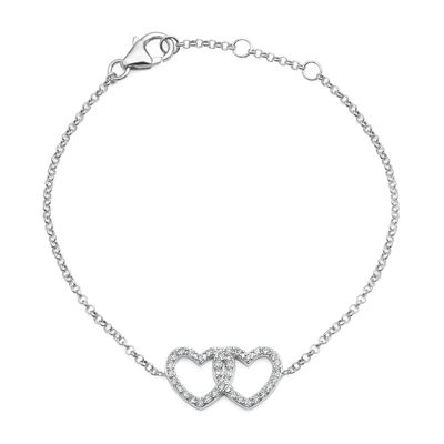 Crystal Sterling Silver Double Heart Adjustable Bracelet