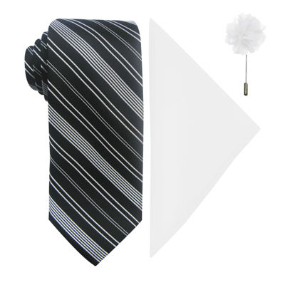 JF J. Ferrar® Striped Tie, Pocket Square and Lapel Pin Set