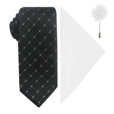 JF J. Ferrar® Grid Tie, Pocket Square and Lapel Pin Set