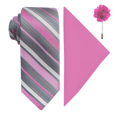 JF J. Ferrar® Stripe Pastel Tie, Pocket Square and Lapel Pin Set