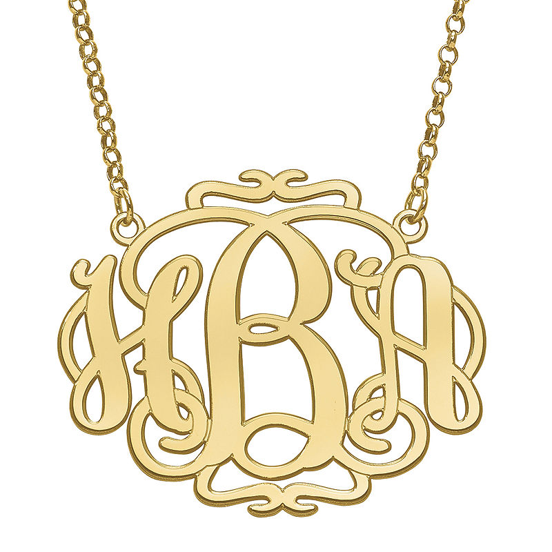 image of Personalized 31x39mm Scroll Monogram Necklace-pp5006291379