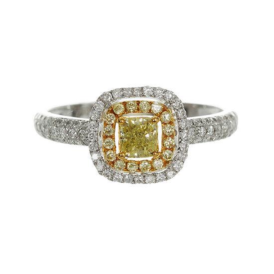 Womens 3/4 CT. T.W. Genuine Yellow Diamond 14K Gold Engagement Ring
