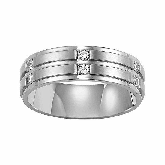 Unisex 7 Mm 1/6 CT. T.W. Genuine White Diamond Stainless Steel Wedding Band