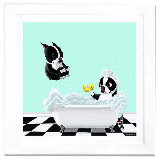 Bath Time by Brian Rubenacker White Framed Fine Art Paper Print
