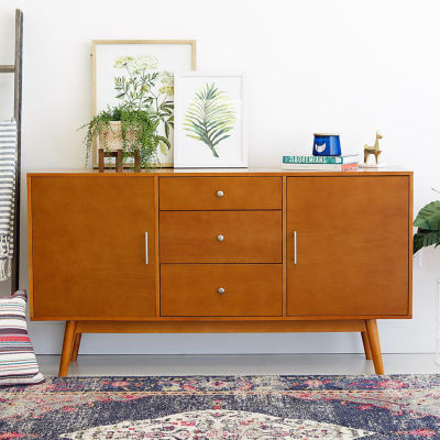 """60"""" Mid-Century Modern Wood Console TV Stand"""
