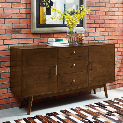 "60"" Mid-Century Modern Wood Console TV Stand"