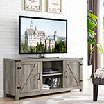 "58"" Barn Door TV Stand with Side Doors"