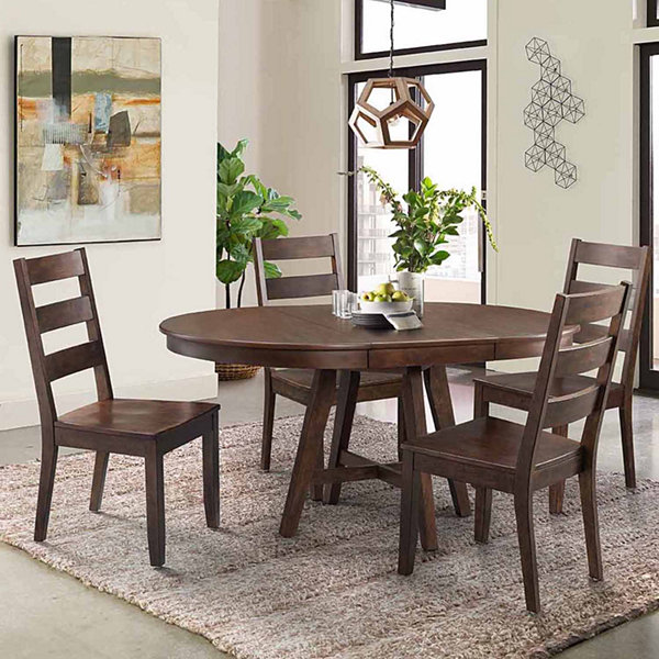 Dining Possibilities 5 Piece Round Table With Ladder Back Chairs