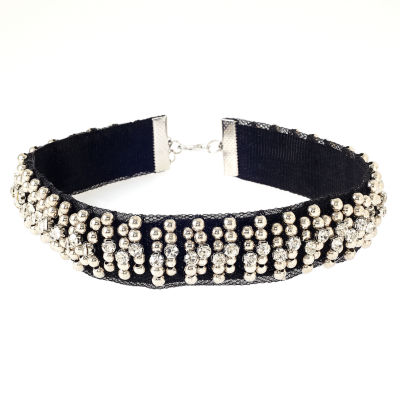 Natasha Accessories Womens Clear Crystal Round Choker Necklace