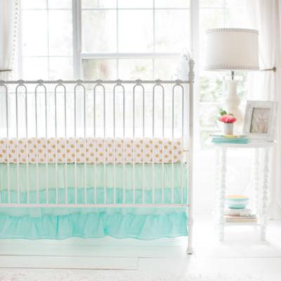 My Baby Sam Mint Ruffled Crib Skirt