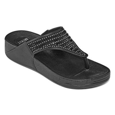 Mixit Embellished Wedge Flip-Flops