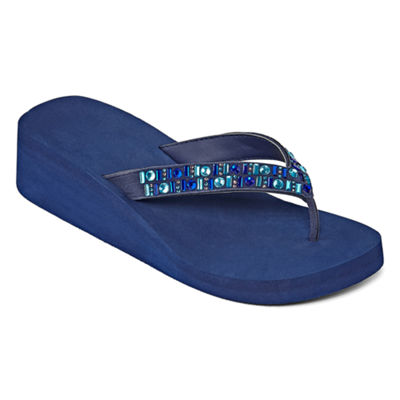 Mixit Womens Beaded Wedge Flip-Flops