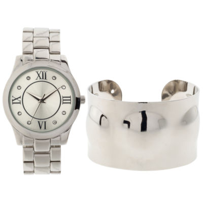 Mixit Womens Silver Tone 2-pack Watch Boxed Set-Jcp3022cst