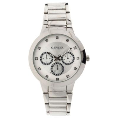 Geneva Womens Silver Tone Bracelet Watch-Jcp3030st