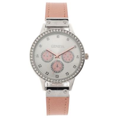 Geneva Womens Pink Strap Watch-Jcp3031st