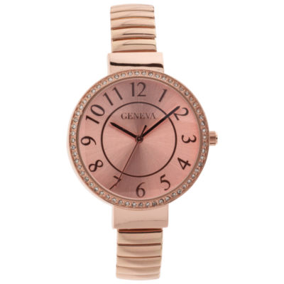 Geneva Womens Rose Goldtone Bracelet Watch-Jcp3032rg